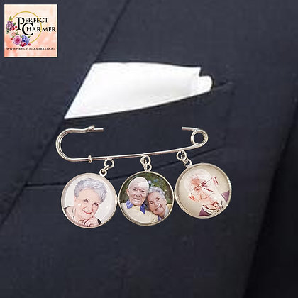 Suit Pin with 3 Silver Smooth Charms