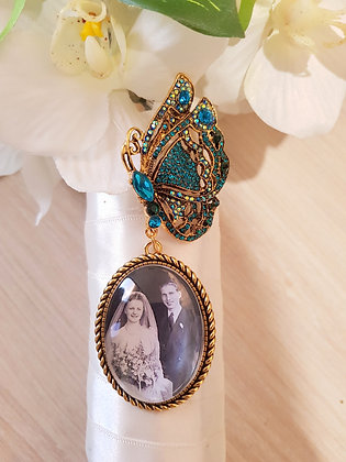 Dark Teal Rhinestone & Antique Gold Butterfly Brooch & Antique Gold Oval Charm