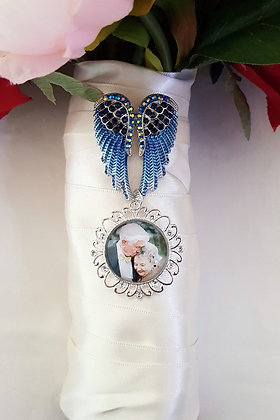 Blue & Silver Angel Wings Brooch with Silver Filigree Single