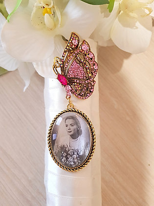 Pink Rhinestone & Antique Gold Butterfly Brooch with Antique Gold Oval Charm