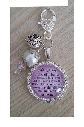 Junior Bridesmaid Charm, Beads, Filigree Heart on Clasp