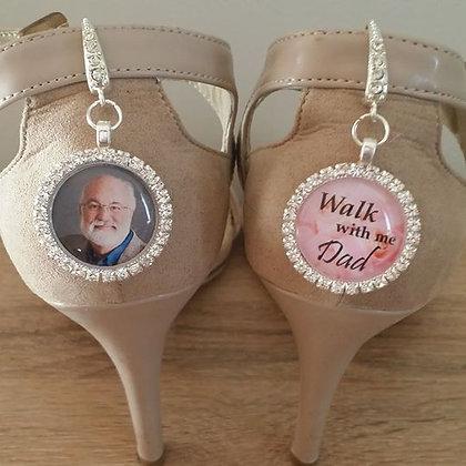Shoe Charms - Silver & Rhinestone