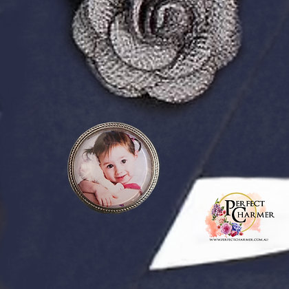 Antique Silver Round with Brooch Pin - 30mm