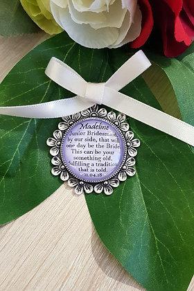 Junior Bridesmaid - Antique Silver Flower