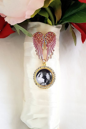 Pink & Gold Angel Wings Brooch with Gold & Rhinestone Single