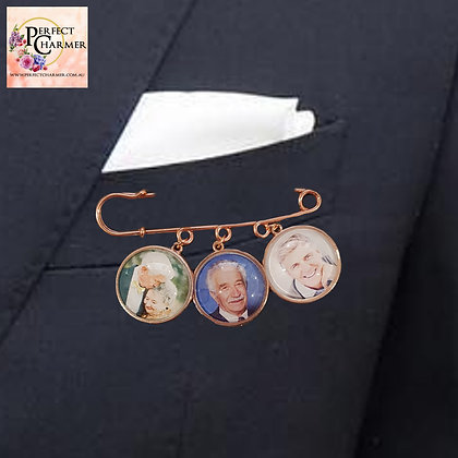 Suit Pin with 3 Rose Gold Smooth Charms