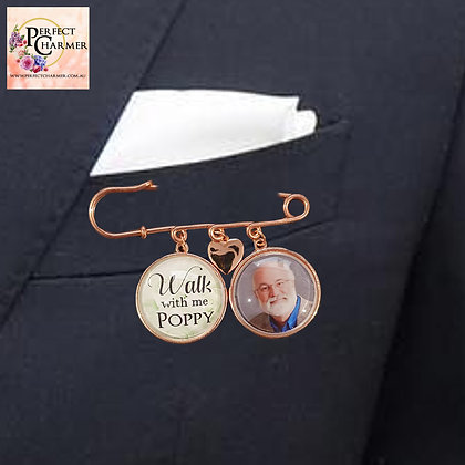 Suit Pin with 2 Rose Gold Smooth & Solid Heart
