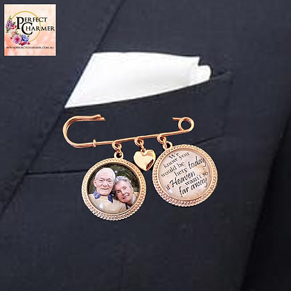 Suit Pin with 2 Rose Gold Round Charms & Rose Gold Solid Heart