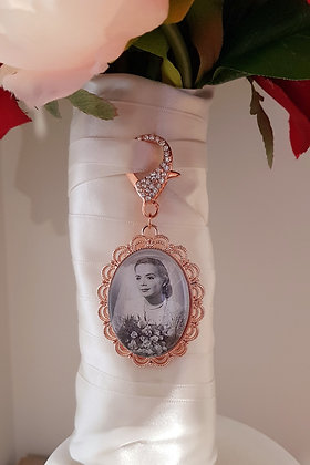 Rose Gold Large Filigree Oval with Rose Gold & Rhinestone Clasp