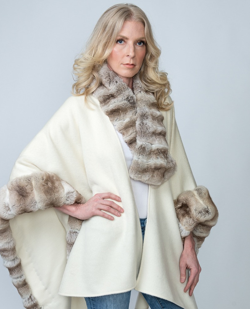 Winter White Baby Alpaca Cape with Natural Blonde Chinchilla - $3500 Matching Chinchilla Scarf $800 ONLY 2 CAPES AVAILABLE!