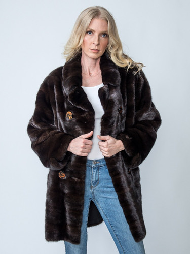 Vintage Zandra Rhodes London Ranch Mink Jacket Size M/L $3,000