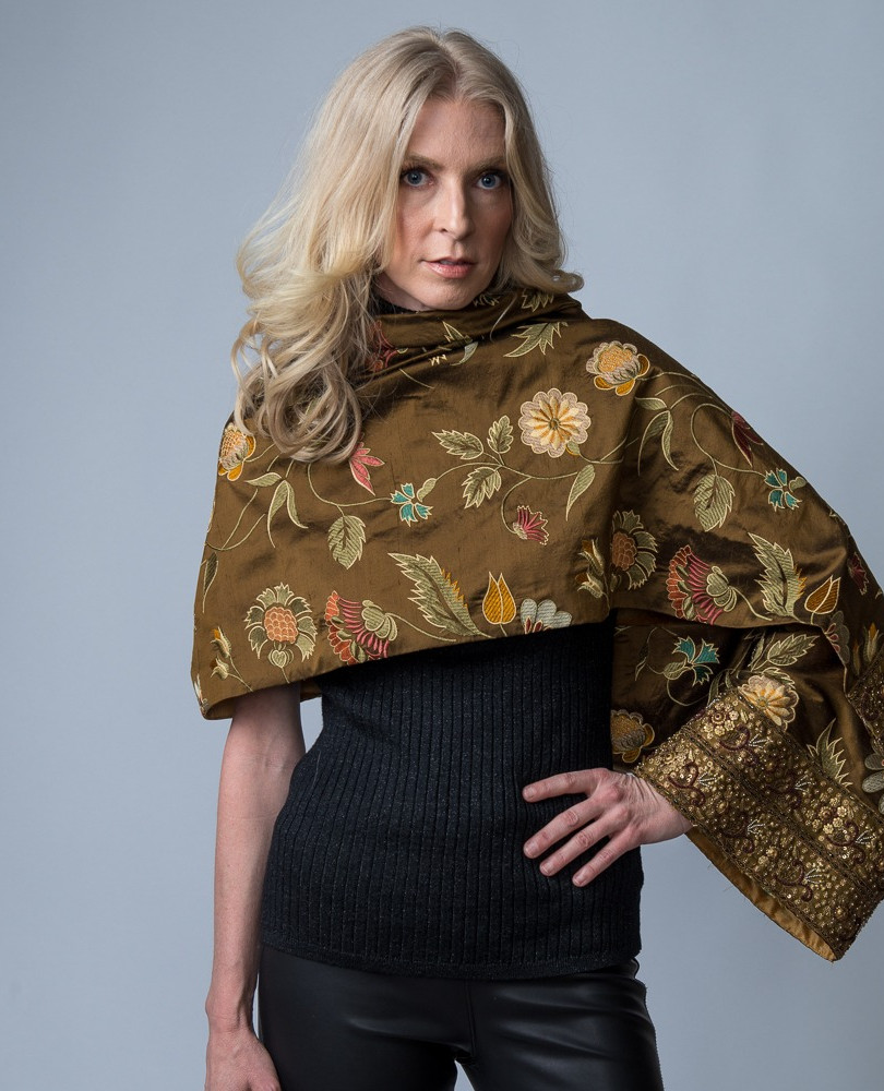 Silk Embroidered Scarf with Beaded Trim $1,250