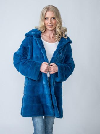 Etro Dyed Blue Mink Reversible to Etro Print Size Medium $12,000 SOLD
