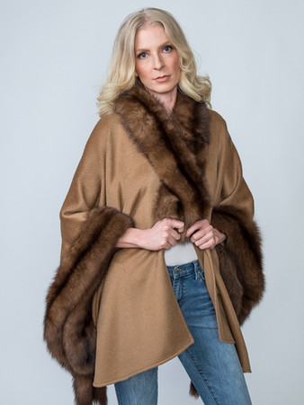 Camel Baby Alpaca Cape with Natural Sable - $3,500 Matching Sable Scarf - $850