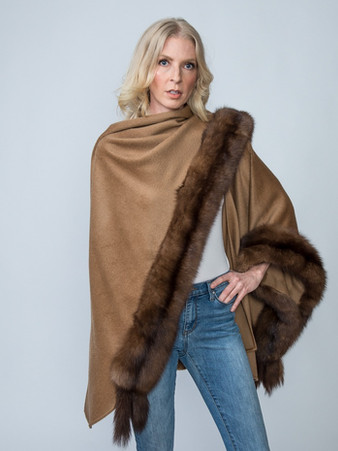 Camel Baby Alpaca Cape with Natural Sable - $3,500 ONLY 1 AVAILABLE!