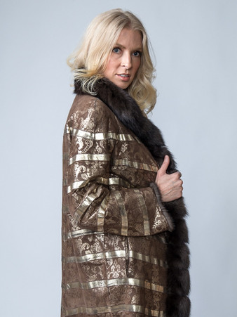 LACOMPEL Natural Sable Coat with Hand Printed Stamped Leather Reversible Interior Size Medium $34,500