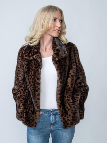 Dolce & Gabbana Stenciled Animal Print Mink Jacket Size Large $5,000