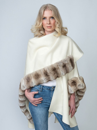 Winter White Baby Alpaca Cape with Natural Blonde Chinchilla - $3500 ONLY 2 CAPES AVAILABLE!