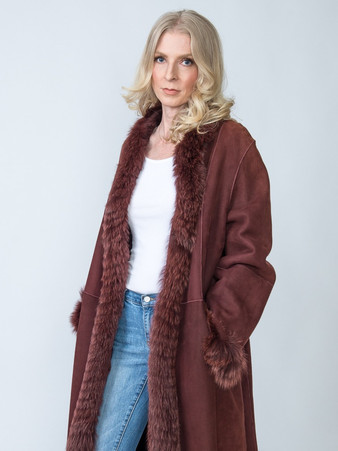 Vintage New Zealand Burgundy Shearling with Burgundy Fox Trim Size Large $1,200