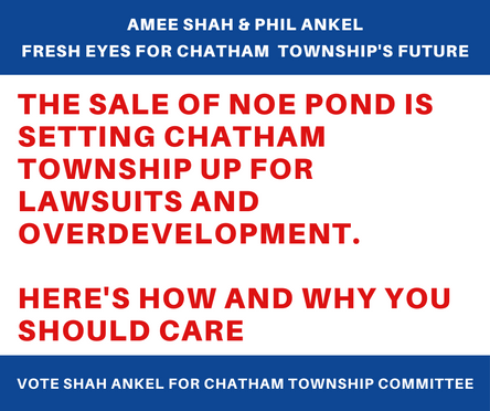 THE SALE OF NOE POND IS SETTING CHATHAM TOWNSHIP UP FOR LAWSUITS AND OVERDEVELOPMENT.