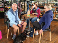 Hanging out at Sandys Grooming Tails K9 Cafe
