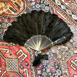 Victorian Ostrich Feather Mourning Fan