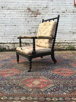 19th Century Ebonised Bobbin Armchair