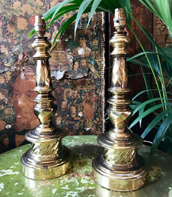 Pair of Impressive Brass Table Lamps
