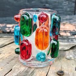 A lovely mid century 'Rainbow Candle' gl