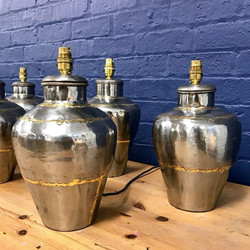 20th c. 6 Steel & Brass Table Lamps