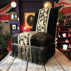 Napoleon III Velvet & Needlepoint Chair