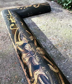 19th century painted pine curb fender
