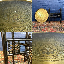 Islamic Ebonised & Brass Tray Table