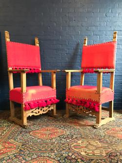 19th Century Italian Throne Chairs