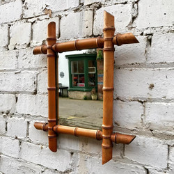 1920's French Faux Bamboo Mirror