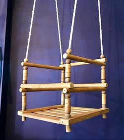 Vintage mid century child's wooden swing