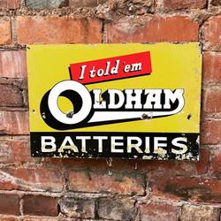 Oldham Batteries Sign