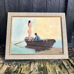 Mid century oil on canvas signed to bott