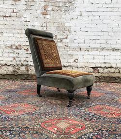 Edwardian Blue Velvet and Carpet Covered