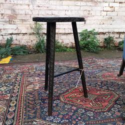 Edwardian Carved Oak Cricket Table
