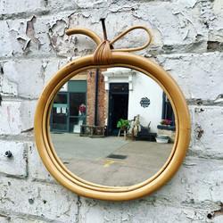 Vintage 1970's Bamboo Apple Mirror