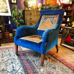 Antique Blue Velvet & Carpet Armchair