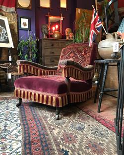 Victorian Velvet And Carpet Armchair