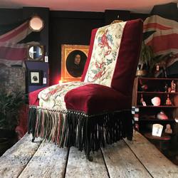 Napoleon III Velvet & Needlepoint Chair.