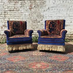 Pair Of Blue Velvet & Carpet Armchairs