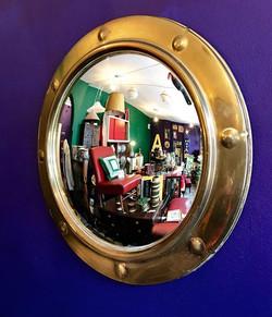 Mid Century Brass Porthole Mirror