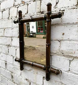French 1920's Faux Bamboo Mirror