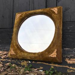 Edwardian Green Velvet Mirror
