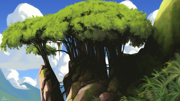 Environment - Jungle Trees on Cliff