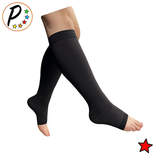 (BIG & TALL) Traditional Open Toe 20-30 mmHg Compression Leg Calf Relief Socks